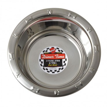 Spot Stainless Steel Embossed Rim Pet Dish - 64 oz 9.25 Diameter