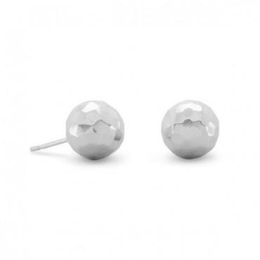 10mm Hammered Ball Earrings