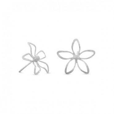 Diamond Cut Flower Post Earrings