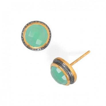 Two Tone Chalcedony Stud Earring
