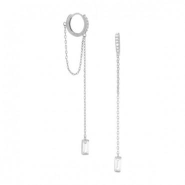 Rhodium Plated CZ Huggie Hoop Earrings with Chain Drop