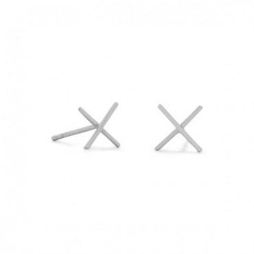Rhodium Plated X Stud Earrings