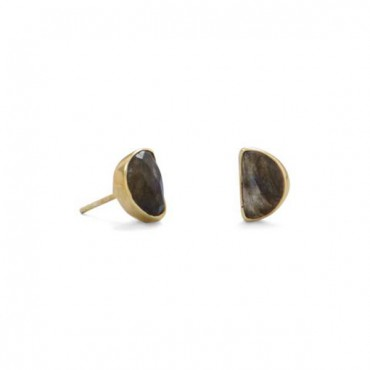 14 Karat Gold Plated Half Moon Labradorite Studs