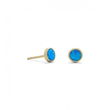 14 Karat Gold Plated Synthetic Blue Opal Studs