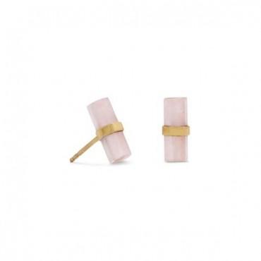 14 Karat Gold Plated Pencil Cut Rose Quartz Studs