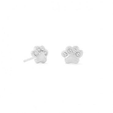 Polished Crystal Paw Print Stud Earrings