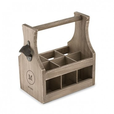 Wood Beer Bottle Caddy With Opener - Typewriter Monogram Etching
