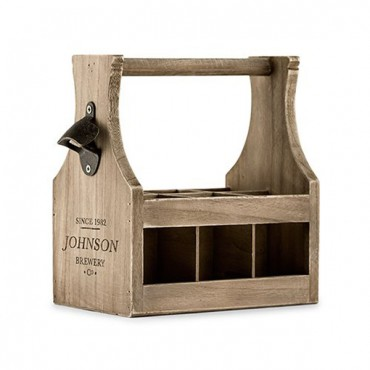 Wood Beer Bottle Caddy With Opener - Brewery Co. Etching
