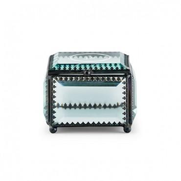 Vintage Inspired Glass Jewelry Box - Modern Monogram Etching