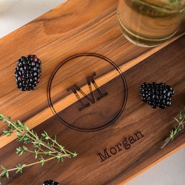 Monogram Teak Cutting And Serving Board Gift