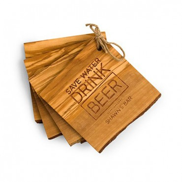 Save Water Drink Beer Rustic Olive Wood Coasters