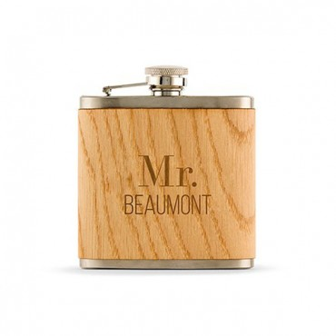 Personalized Wood Wrapped Flask - Modern Text