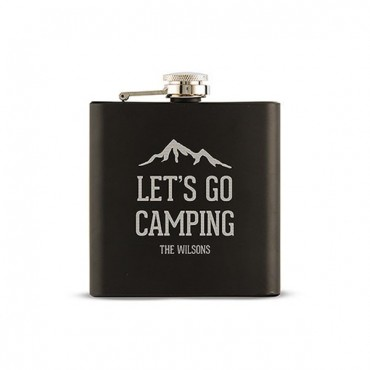 Let's Go Camping Etched Black Hip Flask