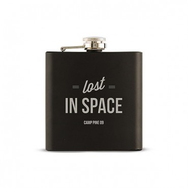 Lost In Space Etched Black Hip Flask