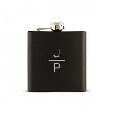 Personalized Monogram Black Hip Flask
