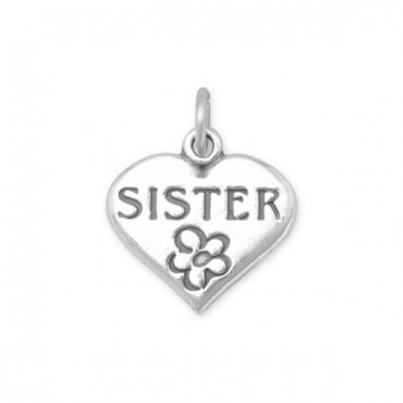 SISTER in Heart Charm