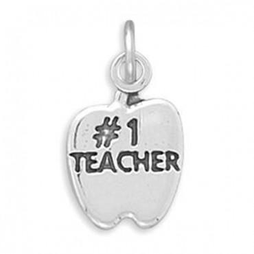 #1 TEACHER in Apple Charm
