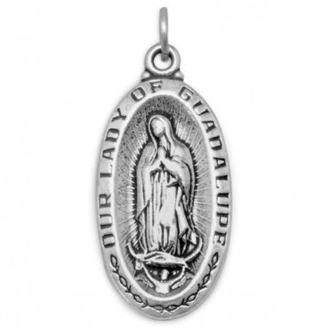 Oxidized - Our Lady of Guadalupe - Medallion Charm