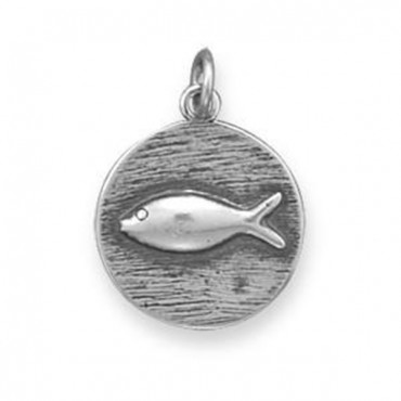 Oxidized Charm with Fish Design