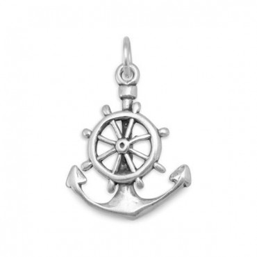 Oxidized Anchor Mariners Cross Charm
