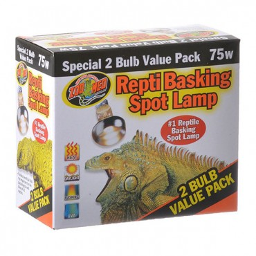 Zoo Med Repti Basking Spot Lamp Replacement Bulb - 75 Watts - 2 Pack