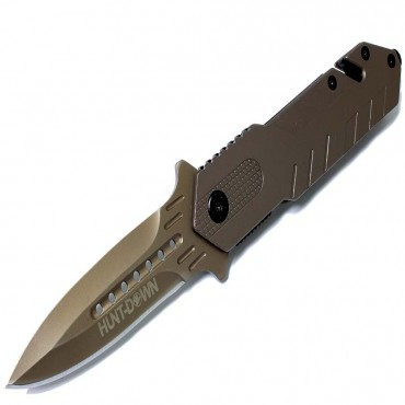 8 1/2 in. Hunt Down Grey Folding Spring Assisted Knife with Belt Clip