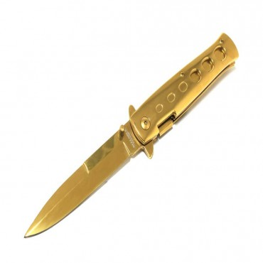 9 in. Defender Xtreme Spring Assisted Knife with Belt Clip - Gold
