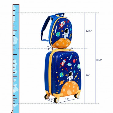 2PC Kids Luggage Set Rolling Suitcase And Backpack