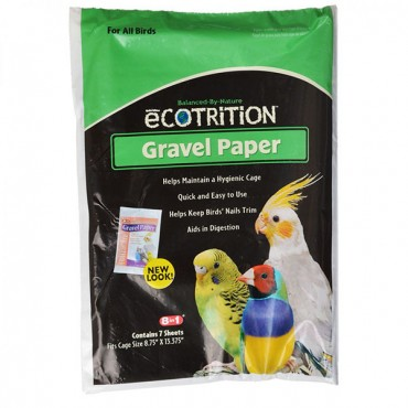 Ecotrition Gravel Paper for All Birds - 8-3/4 in. Long x 13-3/8 in. Wide - 5 Pieces