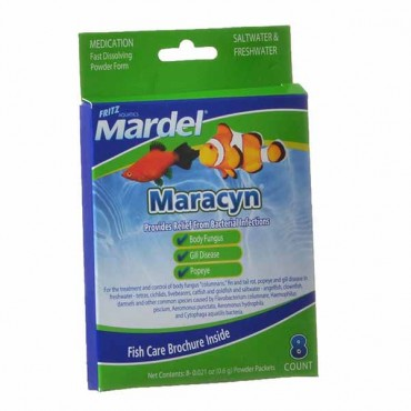 Martel Maracyn Antibacterial Aquarium Medication - Powder - 8 Count - 8 x 0.021 oz Powder Packets