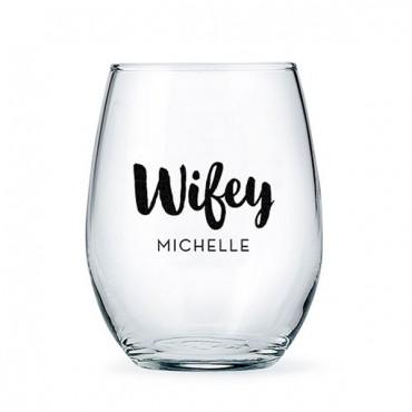 Personalized Stemless Wine Glass - Wifey Print