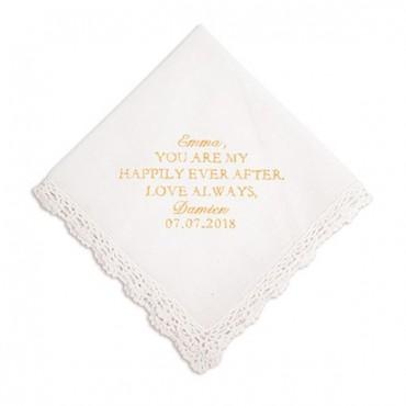 Crocheted Border Handkerchief - Modern Fairy Tale Embroidery