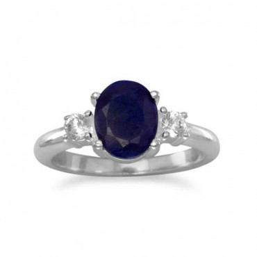 Corundum and CZ Ring