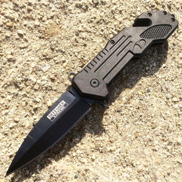 8.5 in. Defender Xtreme Black Spring Assisted Knife with Seat Belt Cutter