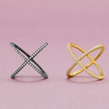 18 Karat Gold Plated Criss Cross X Ring with Signity CZs