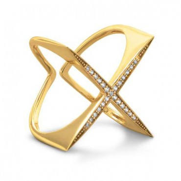 14 Karat Gold Plated Flat Top CZ X Ring