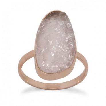 14 Karat Rose Gold Plated Rose Quartz Ring