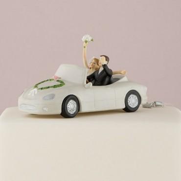 Honeymoon Bound Couple In Car Wedding Cake Topper