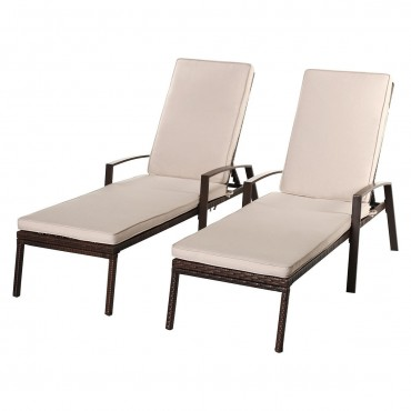 2 Pcs Patio Rattan Adjustable Back Lounge Chair