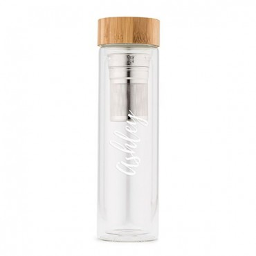 Glass Tea Infuser Travel Cup - Calligraphy Text Printing