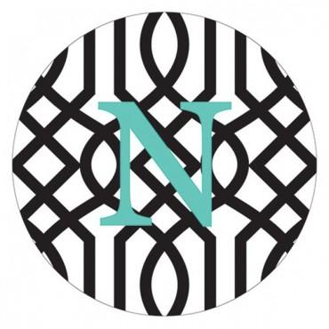 Designer Compact Mirror - Monogram On Trellis Print