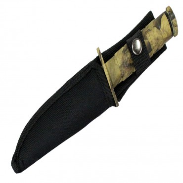 8.5 in. Defender Xtreme Woodland Camo Survival Knife with Sheath