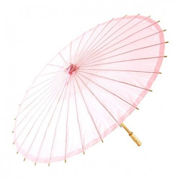 Paper Parasol With Bamboo Boning - Vintage Pink - 2 Pieces
