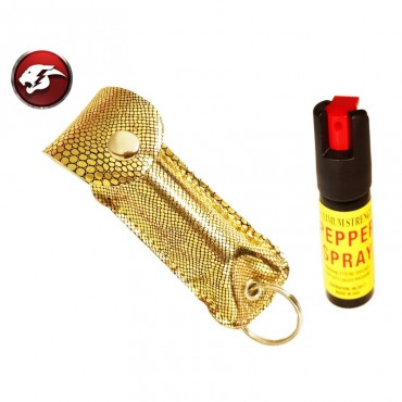 Defender Cheetah Pepper Spray Gold Snake Pattern Faux Leather Pouch For Self Defense