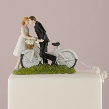 A Kiss Above Bicycle Bride And Groom Couple Figurine
