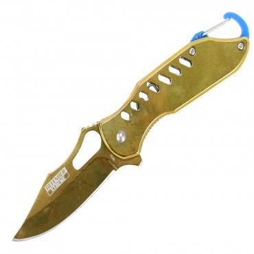 6.5 in. Defender Xtreme Spring Assisted Reflective Gold Knife with Key chain Clip