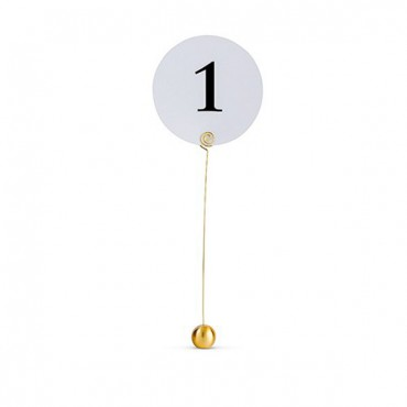 Classic Round Table Number Holder - Brushed Gold