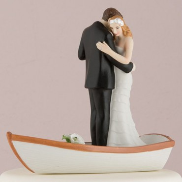 Row Away Wedding Couple In Rowboat Figurine