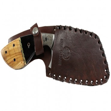 9 in. Huntdown Full Tang Hunting Knife with Damascus Engraved Handle and Leather Sheath