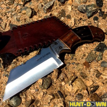 9 in. Huntdown Full Tang Tanto Blade Hunting Knife with Wood Handle and Leather Sheath